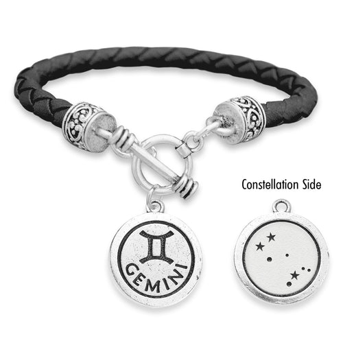 Gemini Zodiac Constellation Leather Bracelet