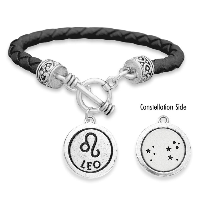 Leo Zodiac Constellation Leather Bracelet
