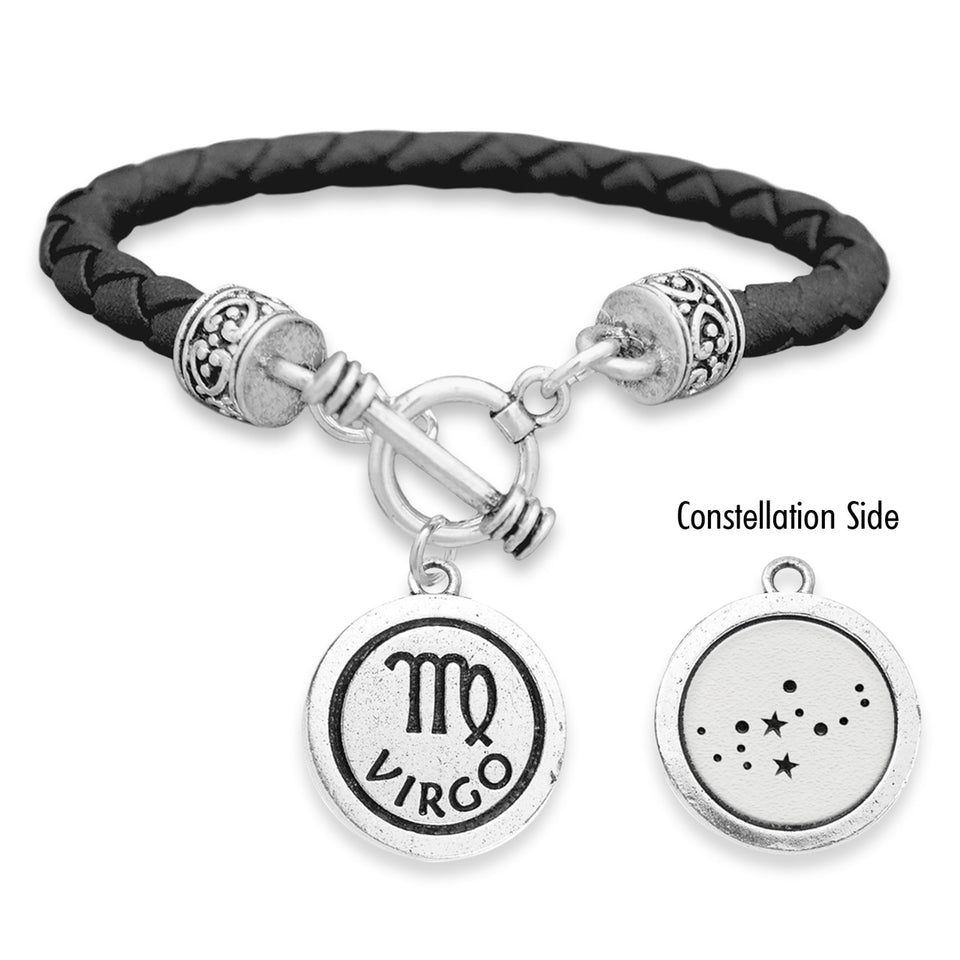 Virgo Zodiac Constellation Leather Bracelet