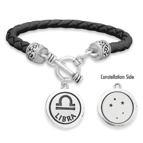 Libra Zodiac Constellation Leather Bracelet