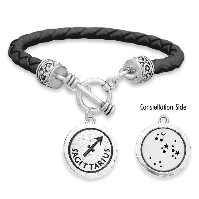 Sagittarius Zodiac Constellation Leather Bracelet