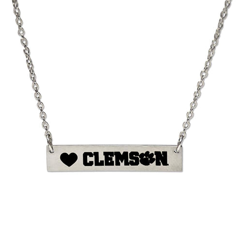 Clemson Bar Silver Bar Necklace