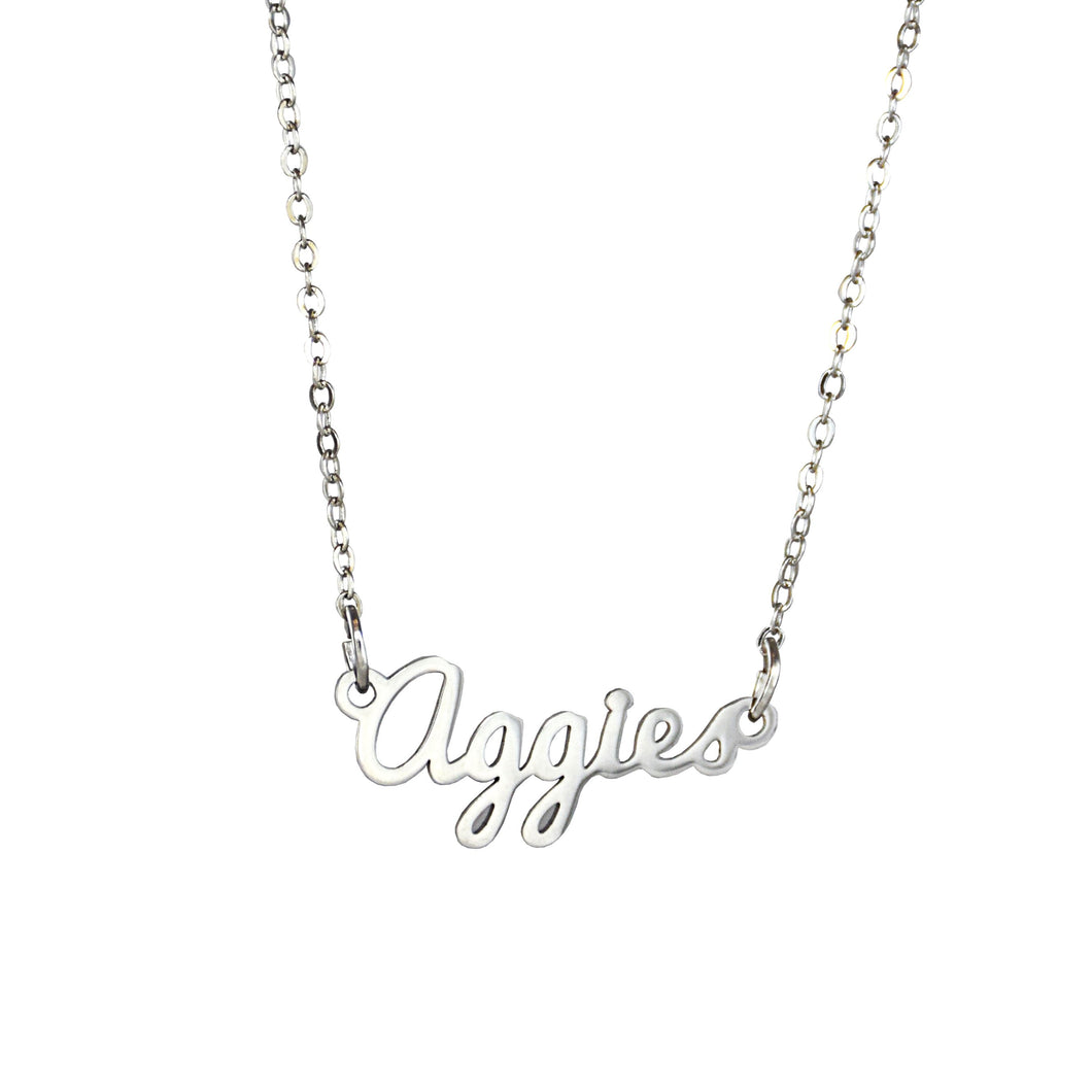 Utah State Aggies Script Silver Necklace