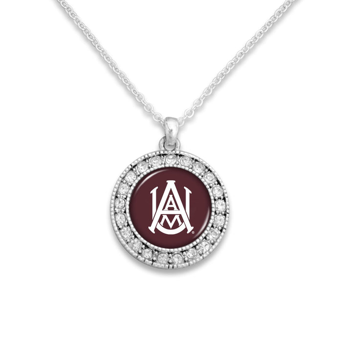 Alabama A&M Bulldogs Kenzie Round Crystal Charm Necklace