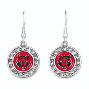 Arkansas State Red Wolves Abby Girl Round Crystal Earrings