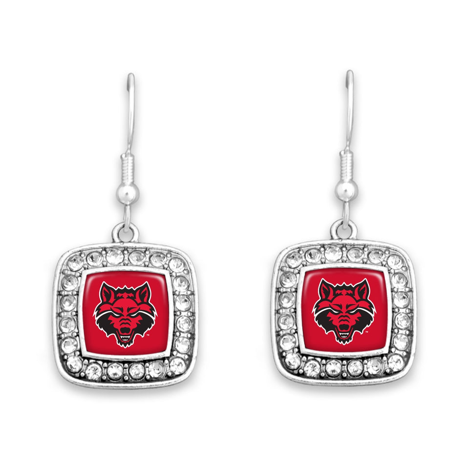 Arkansas State Red Wolves Square Crystal Charm Kassi Earrings