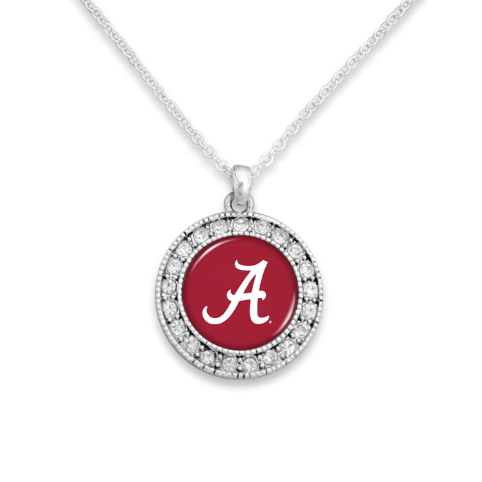 Alabama Crimson Tide Kenzie Round Crystal Charm Necklace
