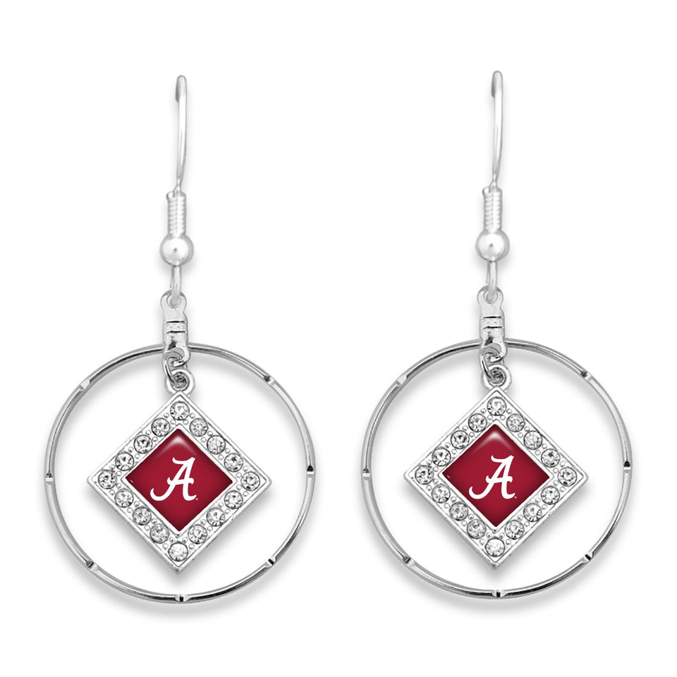 Alabama Crimson Tide Silver Hoop Earrings