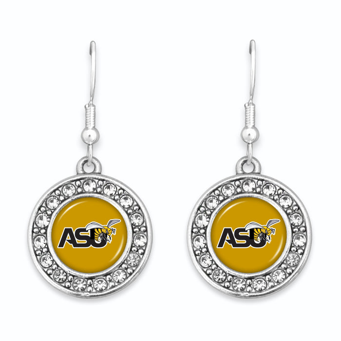Alabama State Hornets Abby Girl Round Crystal Earrings