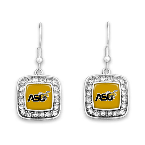 Alabama State Hornets Square Crystal Charm Kassi Earrings
