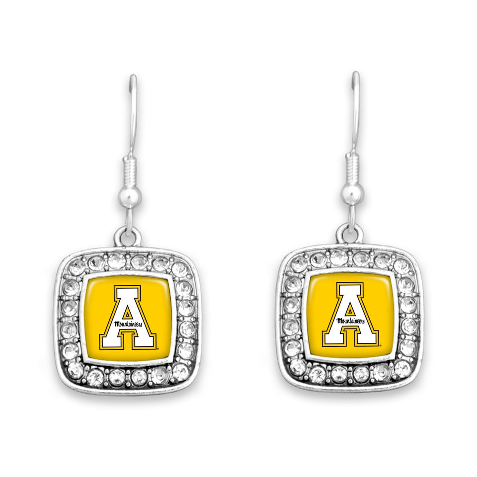 Appalachian State Mountaineers Square Crystal Charm Kassi Earrings