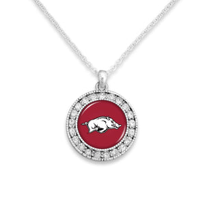 Arkansas Razorbacks Kenzie Round Crystal Charm Necklace