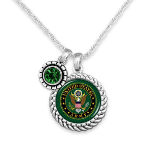 U.S. Army Green Crystal Accent Charm Necklace