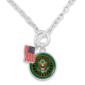 U.S. Army American Flag Accent Charm Toggle Necklace