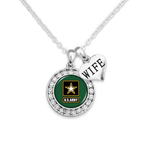 U.S. Army Round Crystal with Wife Accent Charm Necklace