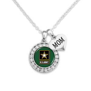 U.S. Army Round Crystal with Mom Accent Charm Necklace