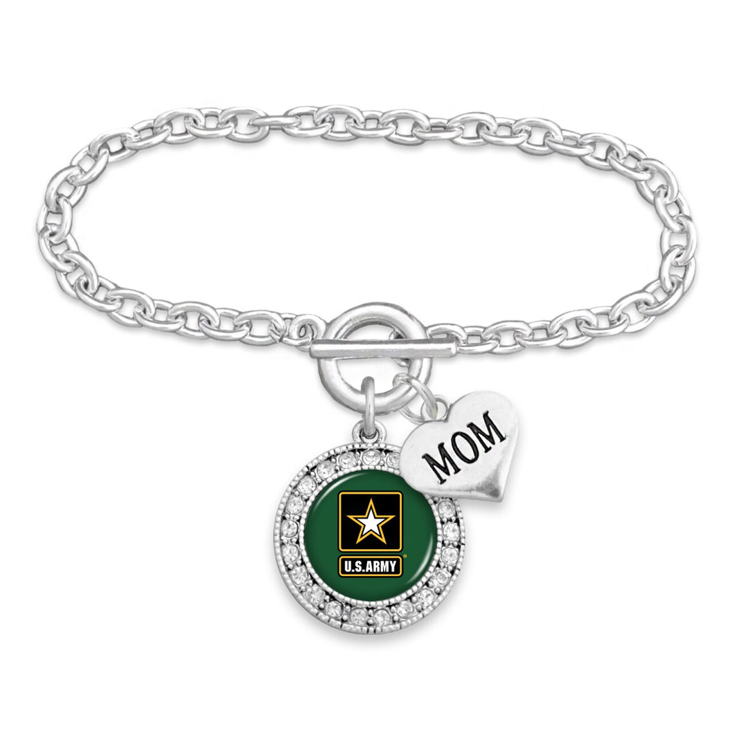 U.S. Army Round Crystal with Mom Accent Charm Bracelet