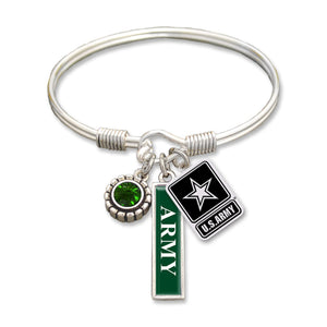U.S. Army Triple Charm Bangle Bracelet