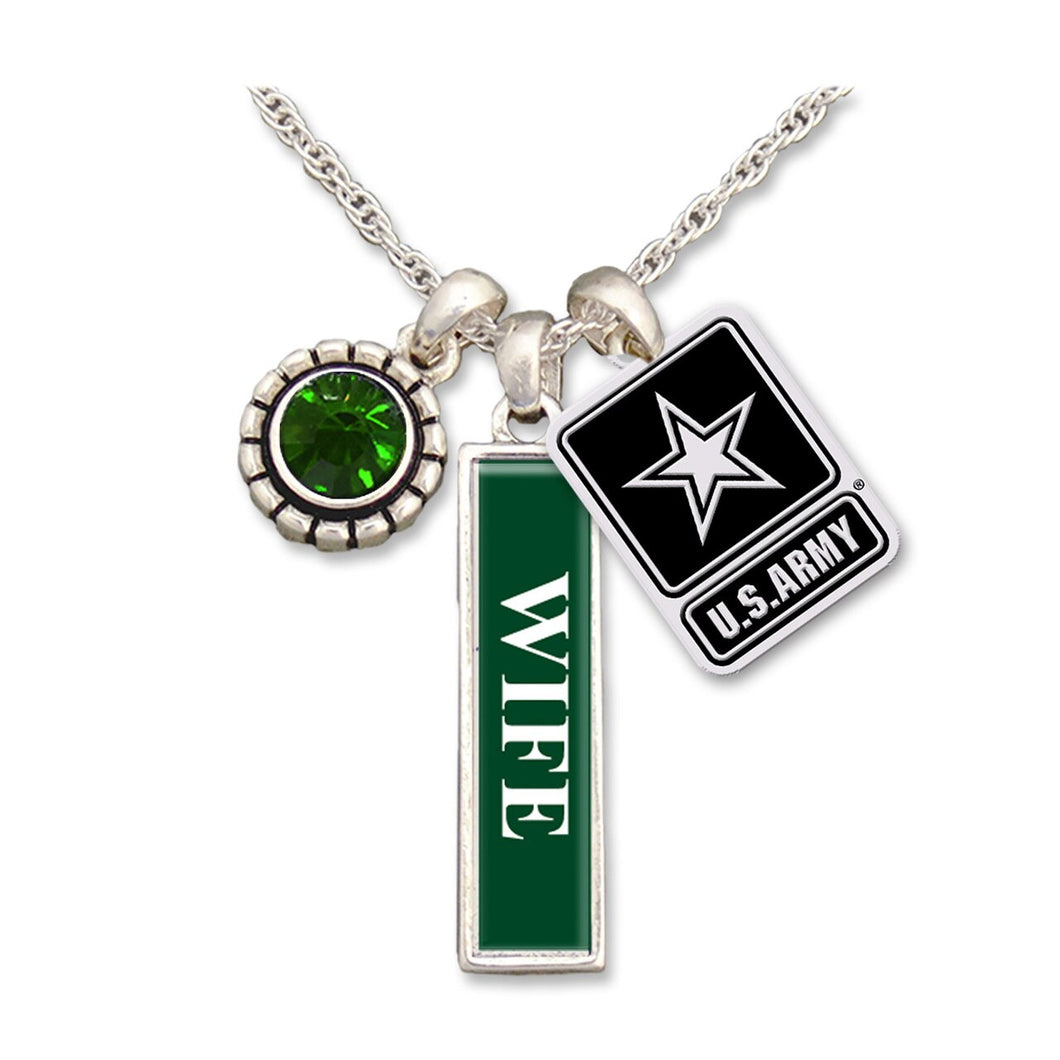U.S. Army Triple Charm Necklace for Wife