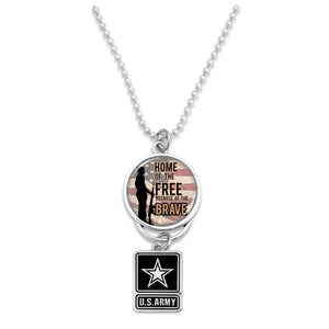 U.S. Army Home of the Brave (Soldier) Silver Logo Car Charm