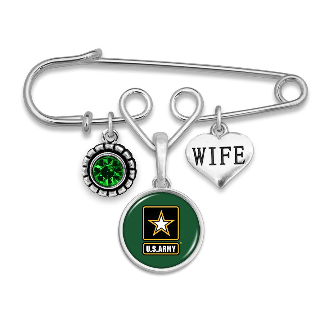 U.S. Army Wife Accent Charm Brooch