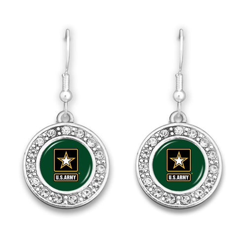 U.S. Army Small Crystal Round Charm Earrings