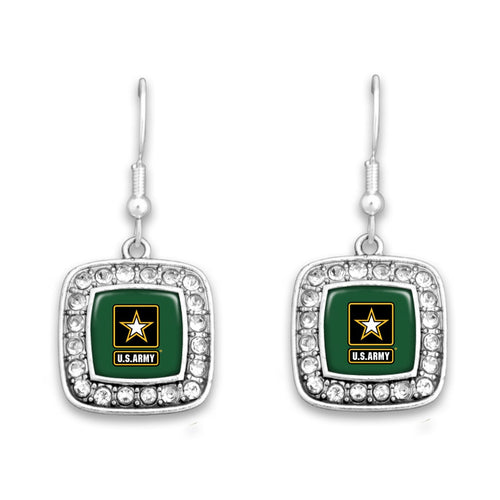 U.S. Army Crystal Square Charm Earrings