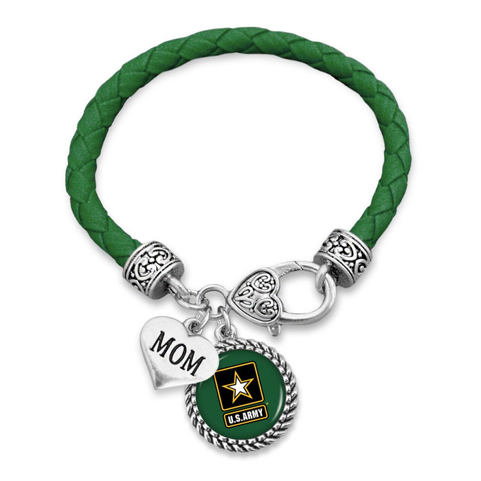 U.S. Army Mom Accent Charm Leather Bracelet
