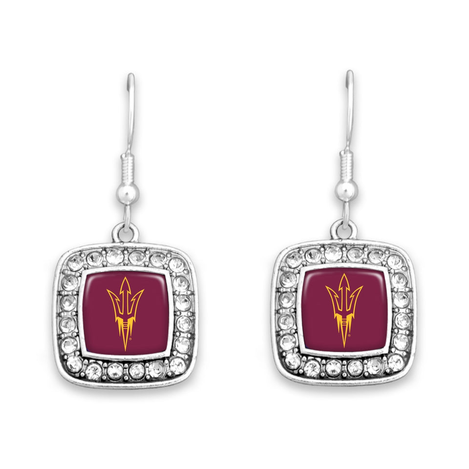 Arizona State Sun Devils Square Crystal Charm Kassi Earrings