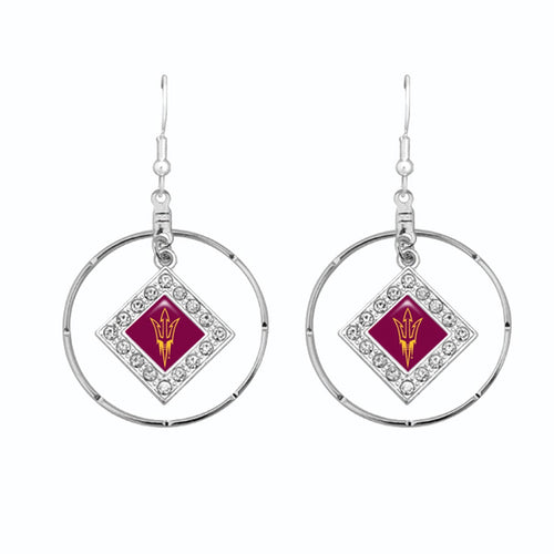 Arizona State Sun Devils Silver Hoop Earrings