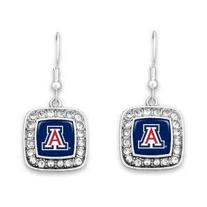 Arizona Wildcats Square Crystal Charm Kassi Earrings