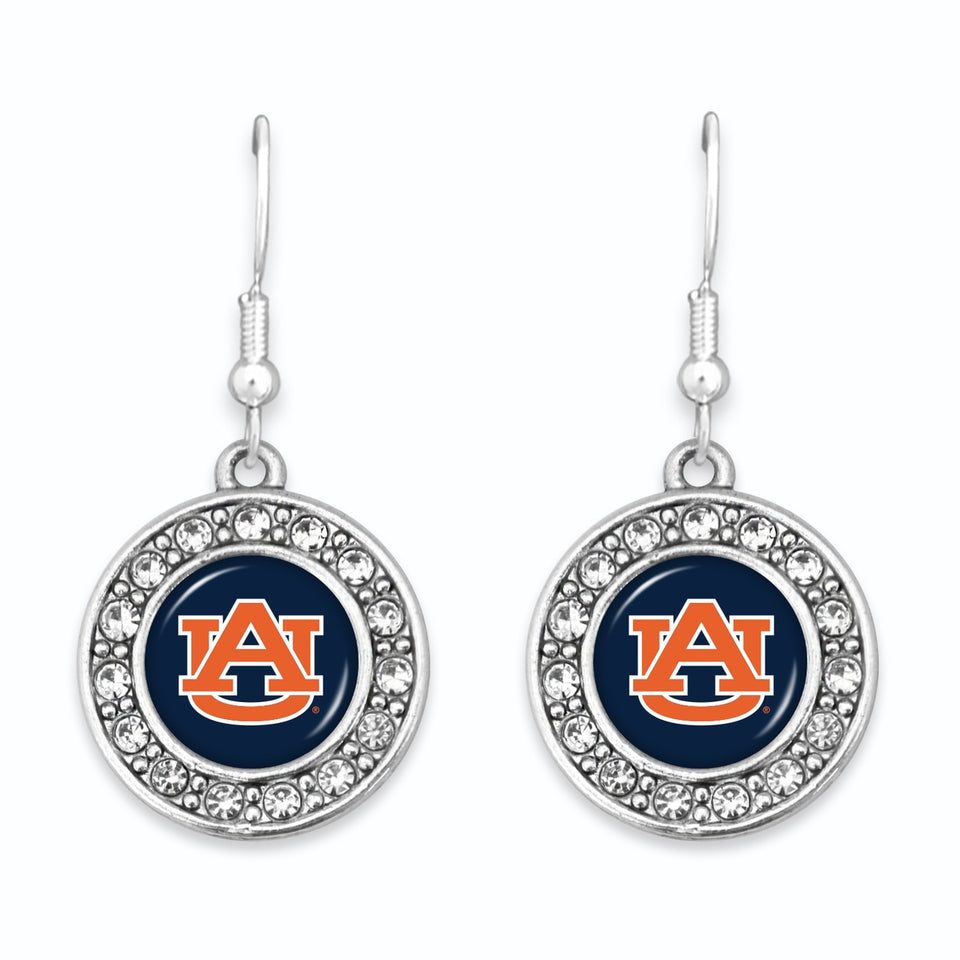 Auburn Tigers Abby Girl Round Crystal Earrings