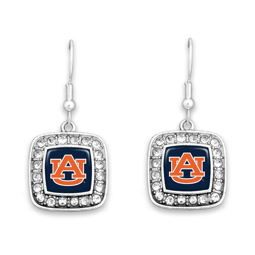 Auburn Tigers Square Crystal Charm Kassi Earrings