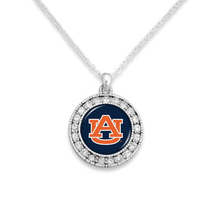 Auburn Tigers Kenzie Round Crystal Charm Necklace