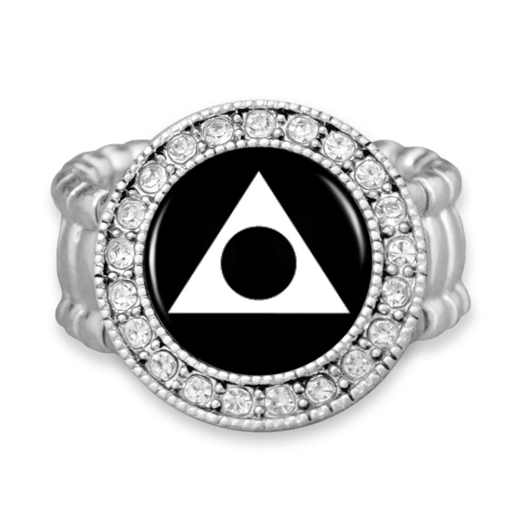 Al-Anon Stretchy Ring Crystal Round Charm
