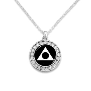 Al-Anon Round Crystal Charm Necklace