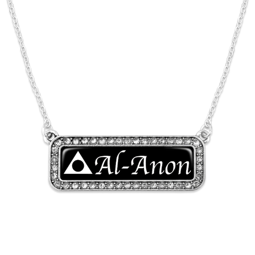 Al-Anon Rectangular Nameplate Crystal Charm Necklace