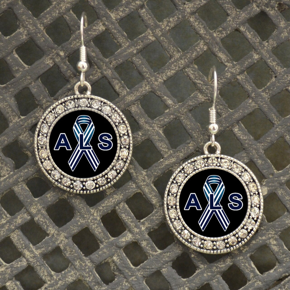 ALS Lou Gehrig's Awareness Fish Hook Crystal Charm Earrings