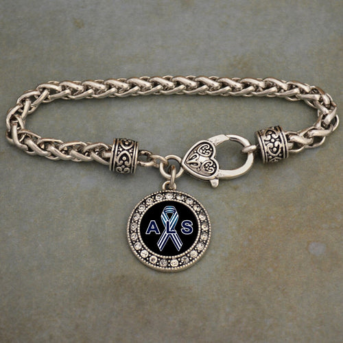 ALS Lou Gehrig's Awareness Braided Clasp Crystal Charm Bracelet