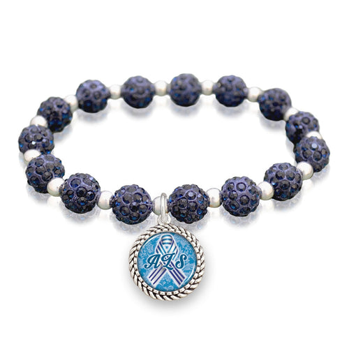 ALS Lou Gehrig's Awareness Sparkle Stretch Beaded Bracelet