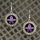 Alzheimer's Awareness Crystal Charm Fish Hook Earrings