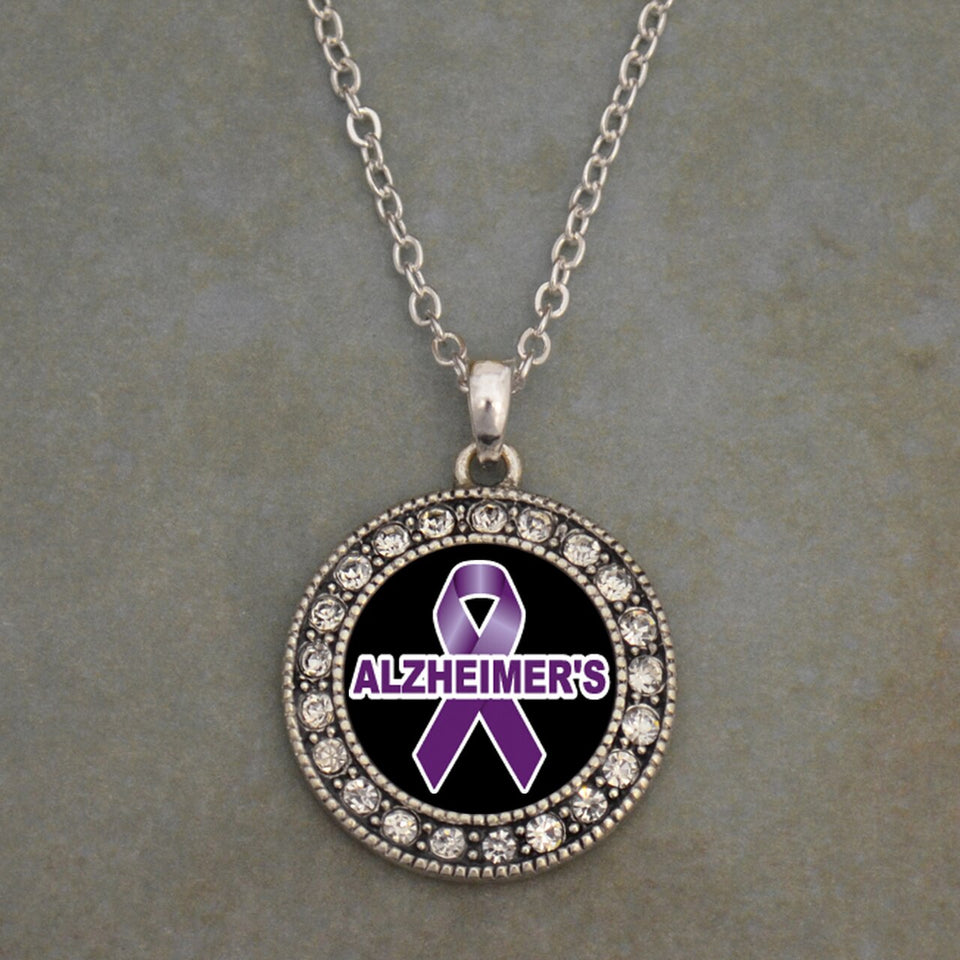 Alzheimer's Awareness Round Crystal Charm Necklace