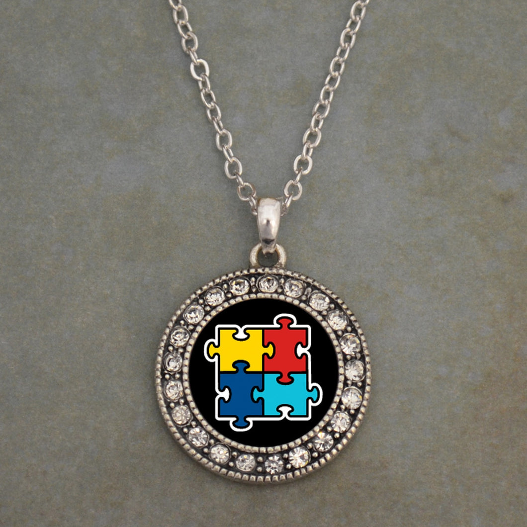 Autism Awareness Crytal Charm Necklace