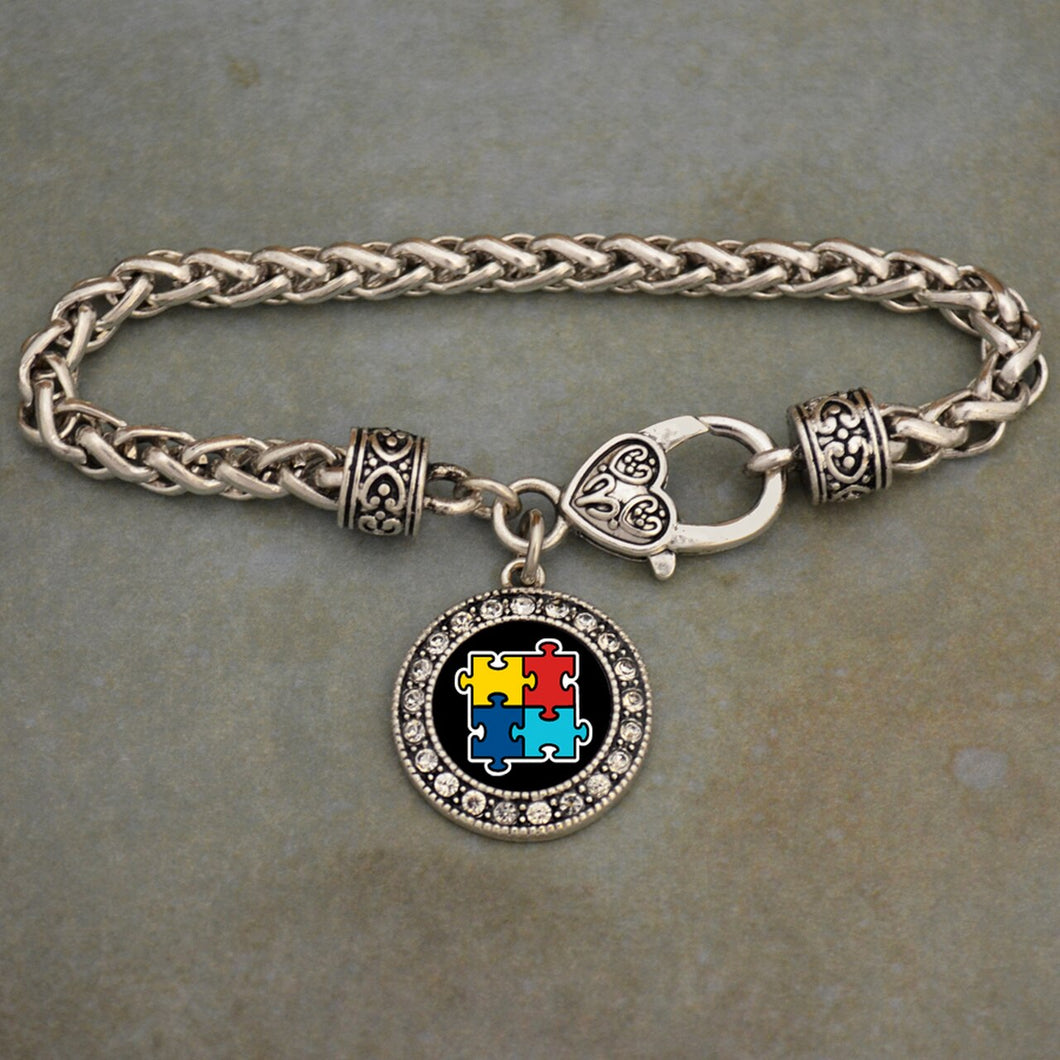 Autism Awareness Braided Clasp Crystal Charm Bracelet