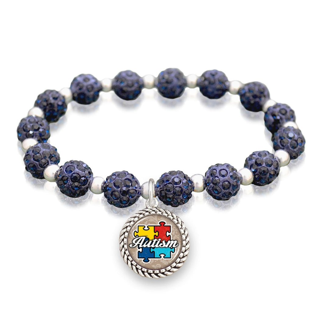 Autism Awareness Sparkle Stretch Beaded Bracelet
