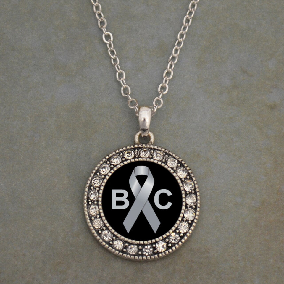 Brain Cancer Awareness Round Crystal Charm Necklace