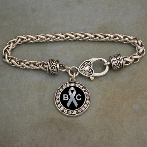 Brain Cancer Awareness Braided Clasp Crystal Charm Bracelet