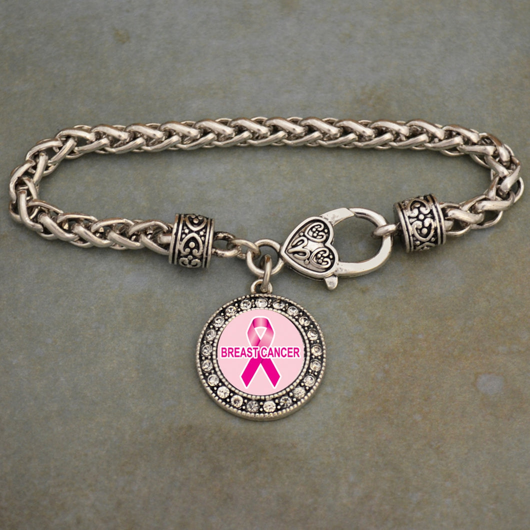 Breast Cancer Awareness Braided Clasp Crystal Charm Bracelet
