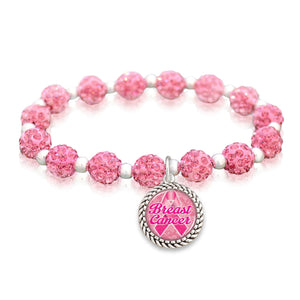 Breast Cancer Awareness Sparkle Stretch Beaded Bracelet
