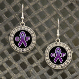 Cystic Fibrosis Awareness Fish Hook Crystal Earrings